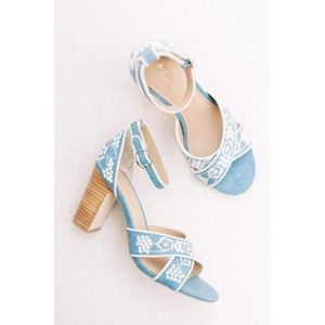 Anthropologie Embroidered Heeled Sandals